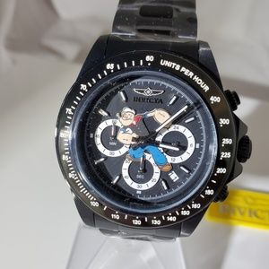 Invicta Popeye Black Stainless Steel Watch